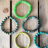 collection of green  8mm & 10mm agate jade bead bracelets
