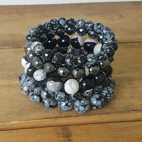 Protection Bracelets by Marinella 8mm 10mm 12mm Obsidian hematite stack