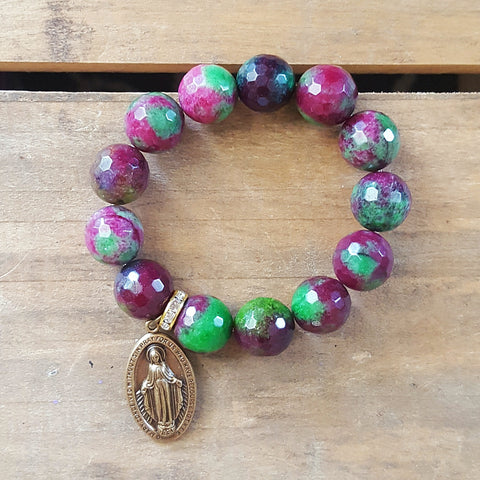 "protection bracelets by Marinella 14mm Ukanite purple green beads 2"" brass St. Mary medal"