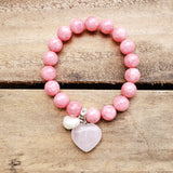 10mm pink jade bead bracelets with heart and freshwater pearl charm