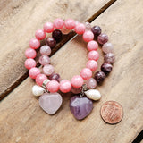 10mm pink jade & berry quartz bead bracelets with heart and freshwater pearl charm
