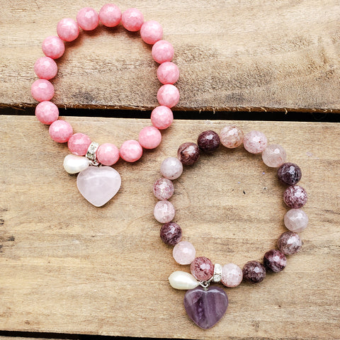 10mm pink jade & berry quartz bead bracelets with heart and freshwater pearl charms