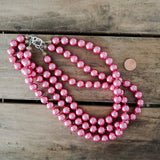 12mm triple layered hot pink round glass pearl beads necklace