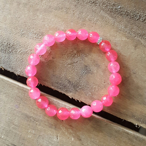 hot pink jade 8mm facetted stone protection bracelet