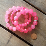 hot pink jade stone stack of three quality stretch protection bracelets penny