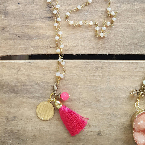 light rose rosary chain hot pink tassel AMOUR charm removable pendant necklace