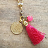 hot pink tassel AMOUR charm removable pendant necklace