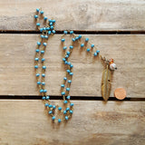 ice blue crystal brass rosary chain necklace feather pendant penny
