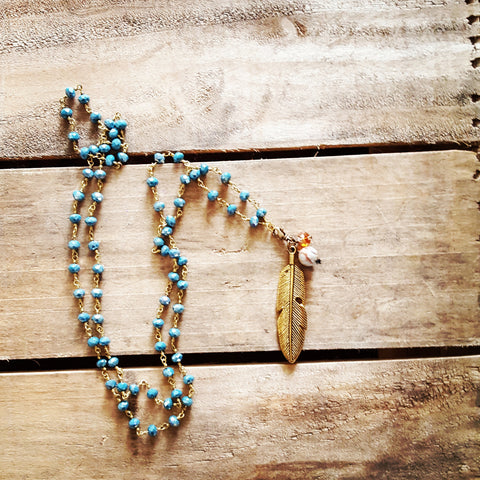 ice blue crystal brass rosary chain necklace feather pendant