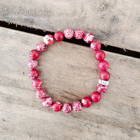 8mm red imperial jasper beads bracelet
