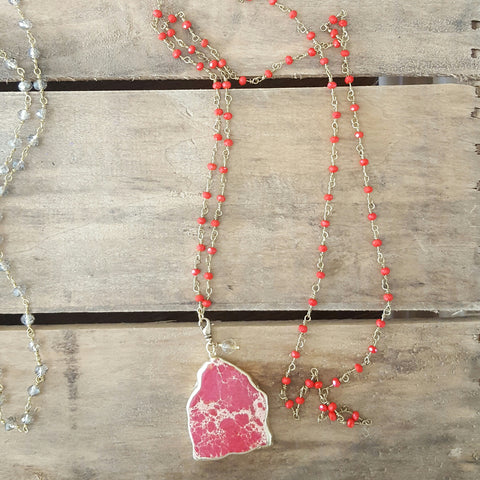 "1 1/2"" red imperial jasper removable pendant 38"" long brass opaque red  crystal rosary chain necklace by Marinella jewelry"