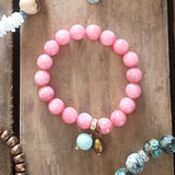 protection bracelet pink faceted jade stones 12 mm