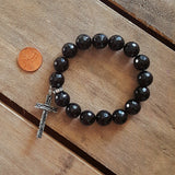 jet onyx protection bracelet american pewter wood look cross charm