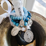 lbue gemstone bead bracelets with St, Mary medals