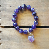 "protection bracelet by Marinella 12mm semi precious amethyst beads 1.5"" raw amethyst nugget charm"