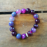 protection bracelet by Marinella 12mm mermaid purples agate beads