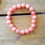 "protection bracelet by Marinella 10mm salmon pink agate 1"" pewter tag stamped love"