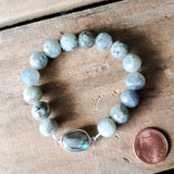 10mm labradorite gemstone beads & center stretch bracelet