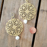 46 mm brass filigree discs w 10 mm freshwater pearl drop earrings