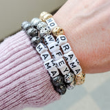 8mm metallic lava beads 6mm letter beads Message Bracelets collection