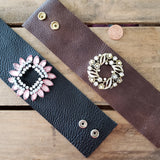 "2.5"" wide brown & black leather cuffs vintage  rhinestone brooches embellishment bracelet"