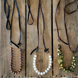 "38"" long deer leather and freshwater 10mm pearl necklaces by Marinella"