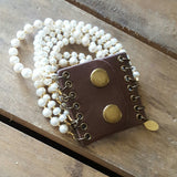 leather snap cuff 7 strand freshwater potato pearls and crystals cuff style bracelet
