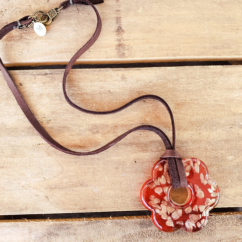 44mm murano red gold glass flower pendant on a leather necklace