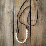 "38"" long deer leather and freshwater 10mm pearls necklace by Marinella"