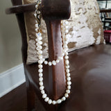 "30"" long necklace 11mm freshwater pearls vintage rhinestones reproduction brass hardware & M tag leather chais"