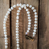 "30"" long necklace 11mm freshwater pearls vintage rhinestones and reproduction brass hardware & M tag"