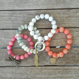 protection bracelets love stack pink coral jade white howlite jadeite stones with charms