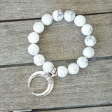 protection bracelet white howlite silver pewter moon charm