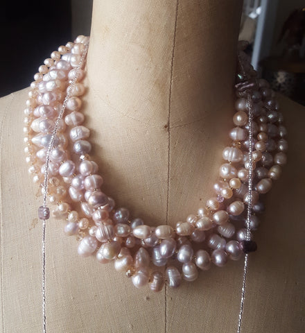 jewelry by Marinella signature 5 strands of layered lt mauve freshwater pearls Swarovski crystal day to evening necklace
