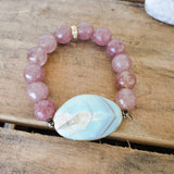 35mm light blue agate gemstone center 12mm strawberry quartz beads vintage rhinestones bracelet