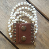 leather snap cuff 7 strand freshwater potato pearls crystals and chain cuff style bracelet