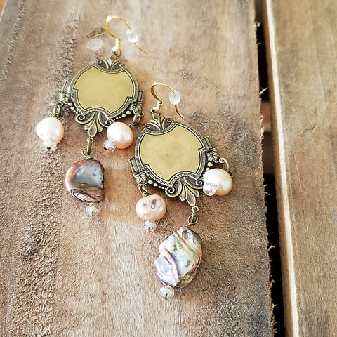 "earrings by Marinella jewelry vintage brass freshwater potato & blister pearls 3"" long"