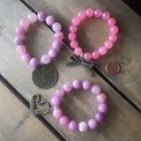 protection bracelets by Marinella luv air stack 12mm 14mm pink jade beads vintage brass charms