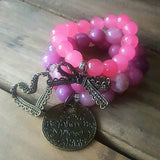 protection bracelets luv air stack 12mm 14mm pink jade beads vintage brass charms