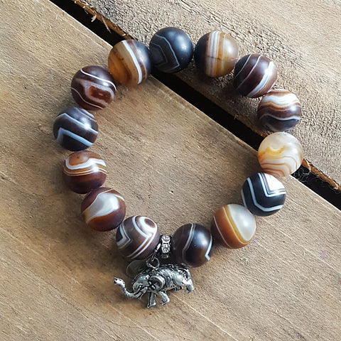 madagascar swirl agate protection bracelet elephant nose up charm and M tag
