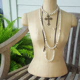 mannequin layered with Marinella jewelry freshwater pearl necklaces