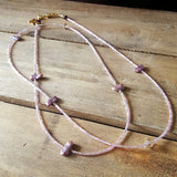 "Necklace by Marinella jewelry 38"" long Swarovski crystal and freshwater pearls necklace in mauve and lt pink seed crystals"
