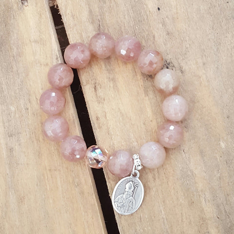 "protection bracelets by Marinella jewelry 14mm dusty rose jade Czech light rose beads St. Valentine religious 1"" medal"
