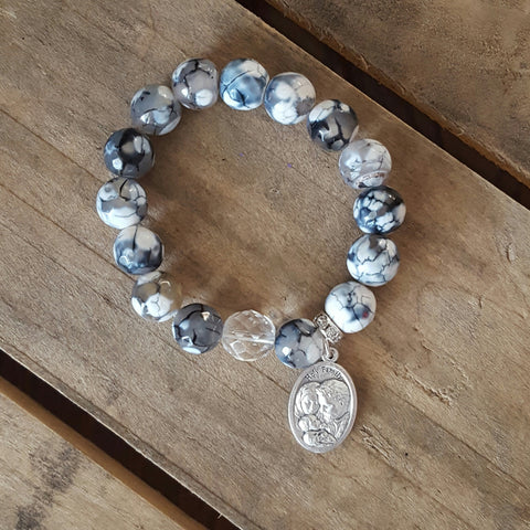 "protection bracelets by Marinella jewelry 12mm black white crackle agate Czech clear beads Holy Family religious 1"" medals"
