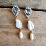"smokey rhinestone posts with real freshwater pearls & pink opal 2"" duster earrings"
