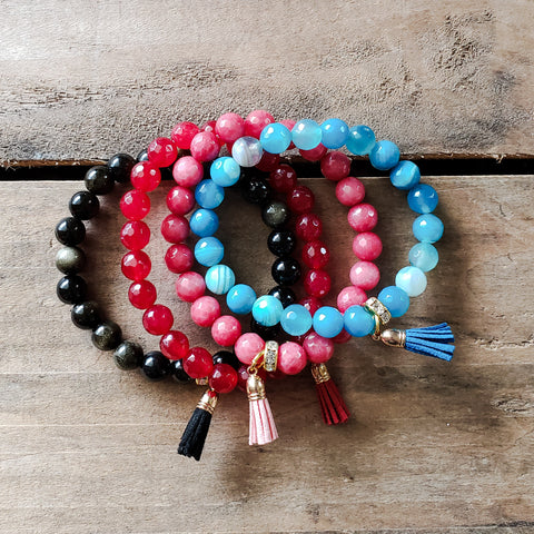 "8mm colorful jade and agate bead bracelets with mini 1/2"" tassel charms"
