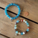 "protection bracelets teal jade multi color agate stone beads 1/2"" oval St. Mary medals"