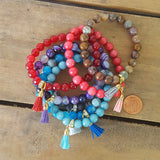 "8mm colorful bead jade and agate bracelets with mini 1/2"" tassel charms"
