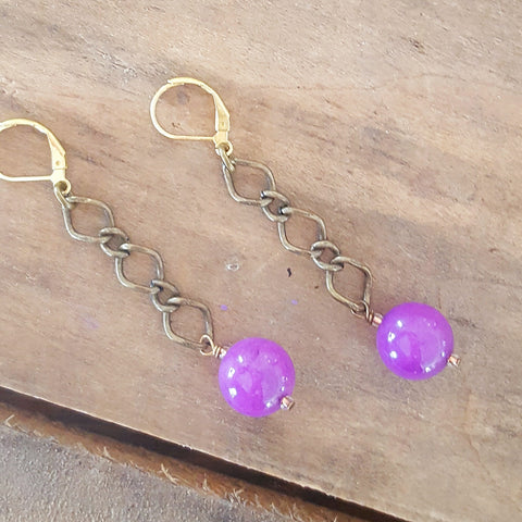 earrings by Marinella jewelry modern vintage brass chain and caps w 12mm purple jasper bead dangles