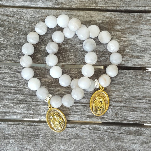 mommy and me protection bracelets holy family medals crazy lace agate beads